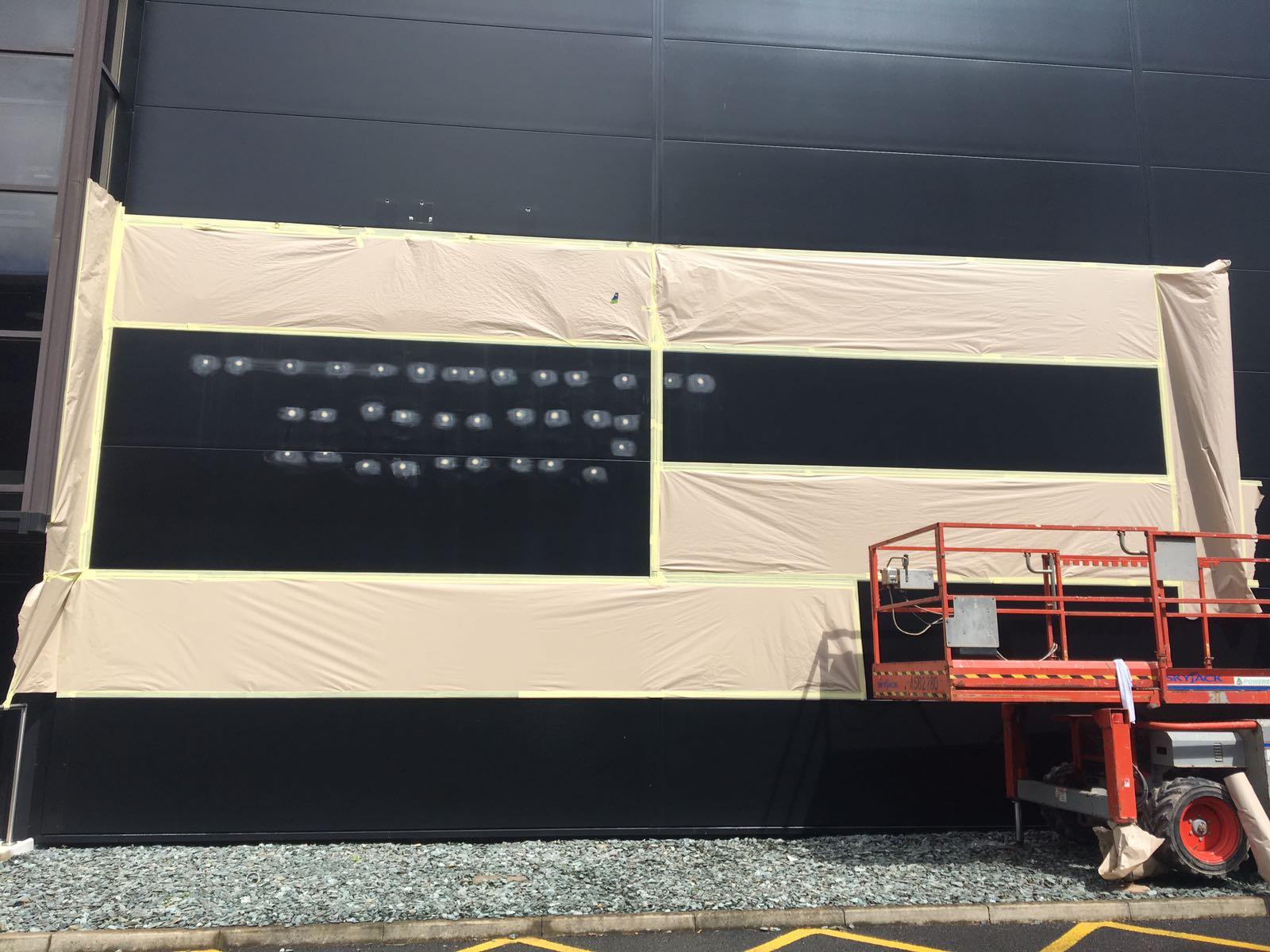Adidas signage filled & Arcelor cladding panels recoated