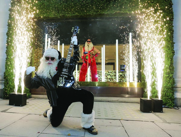 "Selfridges' Christmas window displays are led by the theme ""Selfridges Rocks Christmas""in 2018 – featuring Santa's alter ego 'Rock Santa' playing the guitar. Photo by Matt Writtle 2018."