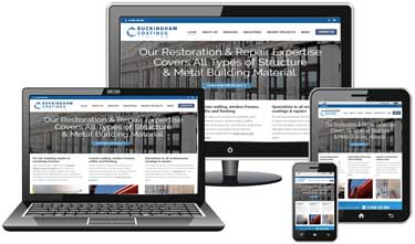 Buckingham Coatings website with responsive design